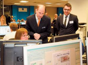 Prince Edward visits Advertiser office to mark paper's 150th anniversary