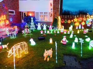 Menagerie of Christmas light animals brightens up Holyport for the holidays